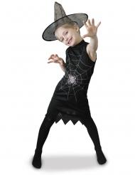 Hexenkostüm mit Spinne für Mädchen schwarz