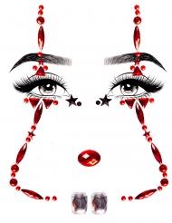 Glanzvolle-Glitzersteine Halloween-Make-up für Damen rot