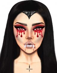 Edle Vampir-Glitzersteine Halloween Make-up-idee für Damen rot-weiss-schwarz