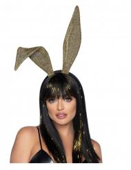 Pompöser Hasen-Haarreif Accessoire für Damen gold-schwarz