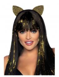Glamouröser Katzen-Haarreif mit Glitzer Accessoire für Damen goldfarben-Schwarz