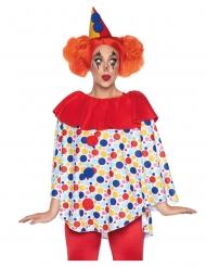 Freundliches Clown-Kostüm für Damen Tunika mit Hut bunt