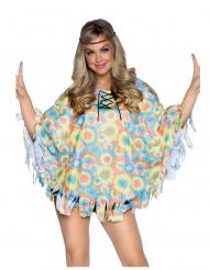 Hippie-Poncho für Damen mit Haarband Flower-Power-Kostüm bunt