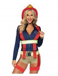 Heiße Feuerwehrfrau-Damenkostüm sexy-Uniform für Fasching blau-rot-gelb