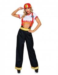 Sexy Feuerwehrfrau-Damenkostüm für Fasching Uniform blau-gelb-rot-weiss