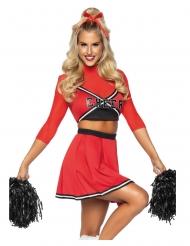 Sportliches Cheerleader-Kostüm für Damen Faschings-Kostüm rot-schwarz-weiss