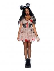 Hübsche Voodoo-Puppe Damenkostüm für Halloween beige-schwarz-rot