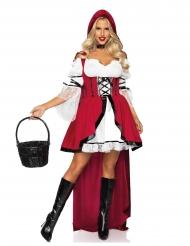Verführerisches Rotkäppchen-Kostüm für Damen Märchen-Kostüm weiss-rot-schwarz