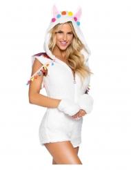 Sexy Lama-Kostüm für Damen Faschings-Kostüm weiss-bunt