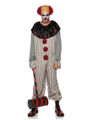 Horrorclown-Kostüm für Erwachsene mit Halbglatze Killerclow weiss-schwarz-grau-rot
