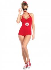 Verführerische Rettungsschwimmerin Kostüm für Damen rot-weiß