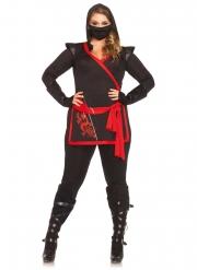 Kriegerisches Ninja-Kostüm in Übergröße Karneval schwarz-rot