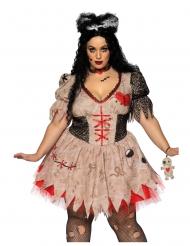 Voodoo-Damenkostüm Halloween-Verkleidung in Übergröße braun-rot