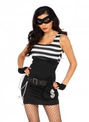 Banditinnen-Damenkostüm für Karneval Bankräuberin schwarz-weiss