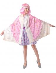 Flügel-Poncho für Kinder mit Haarband weiss-rosa