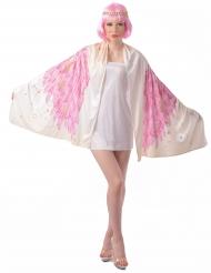 Engelskostüm Poncho für Damen mit Flügel-Aufdruck weiss-rosa-gold