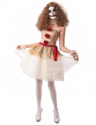 Pantomime Clown-Kostüm für Halloween Damenkostüm beige-rot-weiss