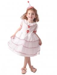 Schauriges Clown-Kostüm für Mädchen Halloween rot-weiß