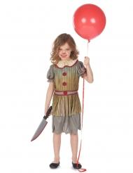Horror-Clown Mädchenkostüm für Halloween grau-beige-weiss