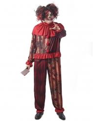 Killerclown-Herrenkostüm für Halloween Horrorclown rot-gold-schwarz