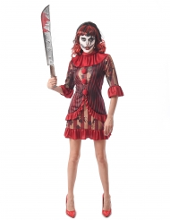 Blutiger Killer-Clown Damenkostüm für Halloween rot-gold-schwarz