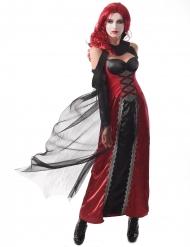 Blutsaugerin Vampirkostüm für Damen Halloween-Verkleidung schwarz-rot