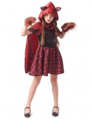 Werwolf Rotkäppchen-Kostüm für Mädchen Halloweenkostüm rot-schwarz