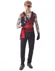 Piratenkostüm mit Tattoo-Motiv Herrenkostüm für Fasching und Halloween schwarz-rot