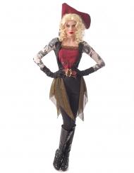 Piratin mit Tattoos Damenkostüm für Halloween und Fasching schwarz-rot-gold