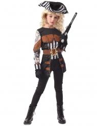 Verwegene Pirat-Kostüm für Mädchen schwarz-weiss-braun