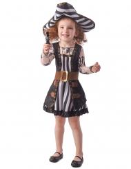 Kleine Piratin-Kostüm für Mädchen Faschingskostüm schwarz-weiss-braun