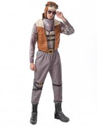 Stilvolles Steampunk-Pilotenkostüm für Herren Fasching grau-braun-schwarz