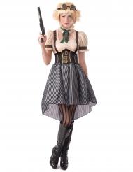 Steampunk-Damenkostüm Halloween-Verkleidung weiss-braun-schwarz
