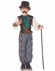 Steampunk-Kostüm für Jungen 6-teilig braun-blau beige