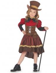 Edles Steampunk-Kostüm für Mädchen Halloweenkostüm braun-rot