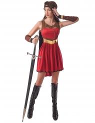 Mittelalterliche Kriegerin Gladiatorenkostüm für Damen rot-braun-gold