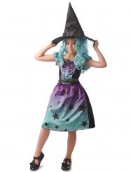 Hexe der Sternen Mädchenkostüm für Halloween lila-türkis-schwarz