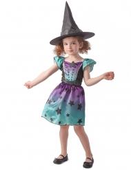 Hexen-Kostüm für Mädchen mit Sternen Halloweenkostüm blau-violett-schwarz