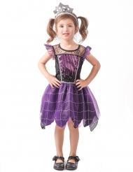 Spinnenkönigin Kinderkostüm Halloween für Mädchen violett-schwarz