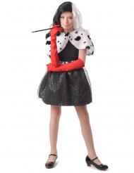 Böse Hundefängerin Mädchenkostüm Diebin schwarz-weiss-rot