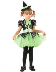 Zauberhaftes Hexenkotüm für Mädchen Halloween grün-schwarz-weiss