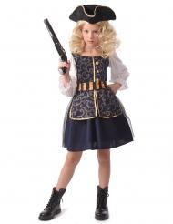 Edles Piraten-Kostüm für Mädchen Halloweenkostüm blau-weiss-gold