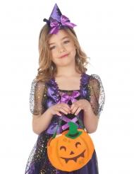 Süße Kürbis-Tasche für Kinder Halloween-Accessoire orangefarben-grün