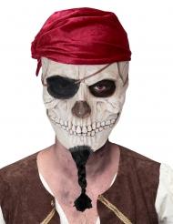 Piraten-Totenkopfmaske für Erwachsene weiß-schwarz-rot