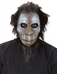 Kriegerische Affen-Maske für Erwachsene Halloween braun-weiss