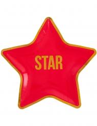 Star-Teller Pappteller für Mottopartys 10 Stück rot-goldfarben 22 x 22 cm