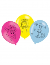 Lustige Spongebob Schwammkopf™-Ballons 6 Stück Raumdeko bunt 27 cm