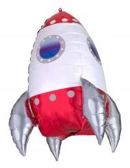 Folienballon Rakete Partydekoration weiss-rot 55 cm