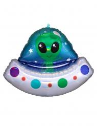 Alien-Folienballon Raumdekoration Partyzubehör silber-blau 71 x 53 cm