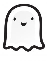Süße Geister-Pappteller Tisch-Zubehör für Halloween Friends 8 Stück weiss-schwarz 27 cm